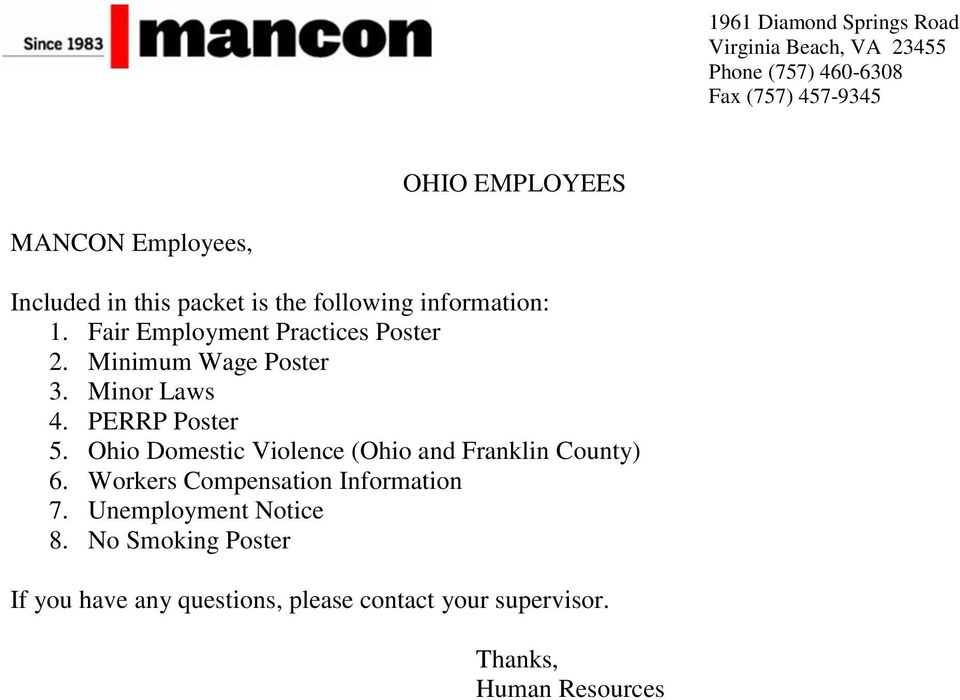 Minimum Wage Poster 3. Minor Laws 4. PERRP Poster 5. Ohio Domestic Violence (Ohio and Franklin County) 6.