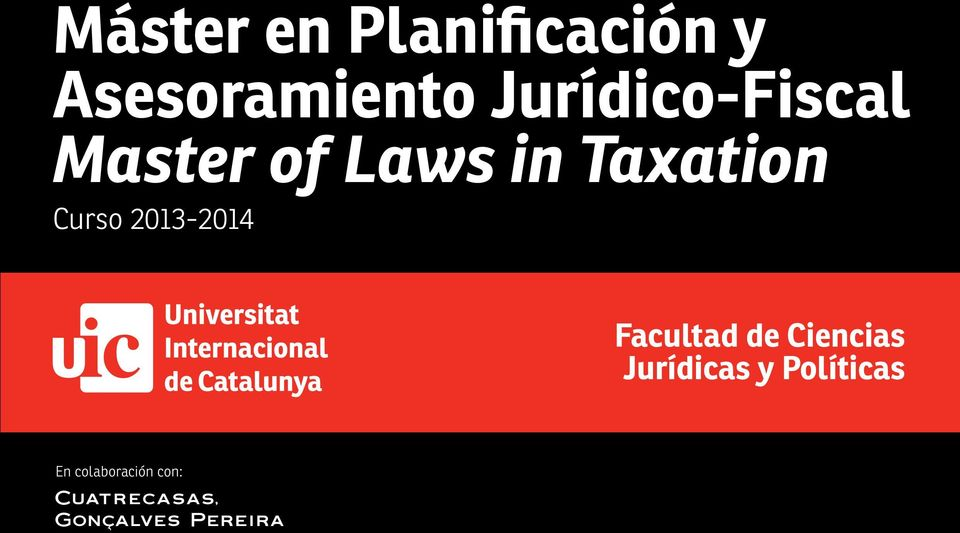 Taxation Curso 2013-2014 Facultad de