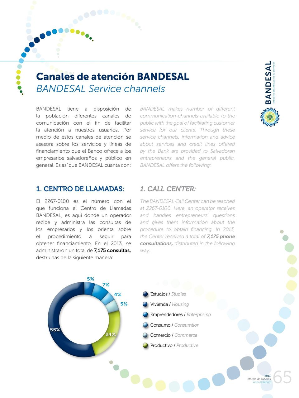 Es así que BANDESAL cuanta con: BANDESAL makes number of different communication channels available to the public with the goal of facilitating customer service for our clients.