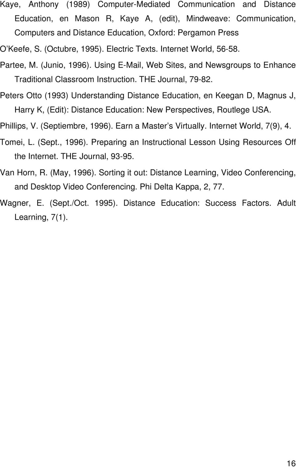 Peters Otto (1993) Understanding Distance Education, en Keegan D, Magnus J, Harry K, (Edit): Distance Education: New Perspectives, Routlege USA. Phillips, V. (Septiembre, 1996).