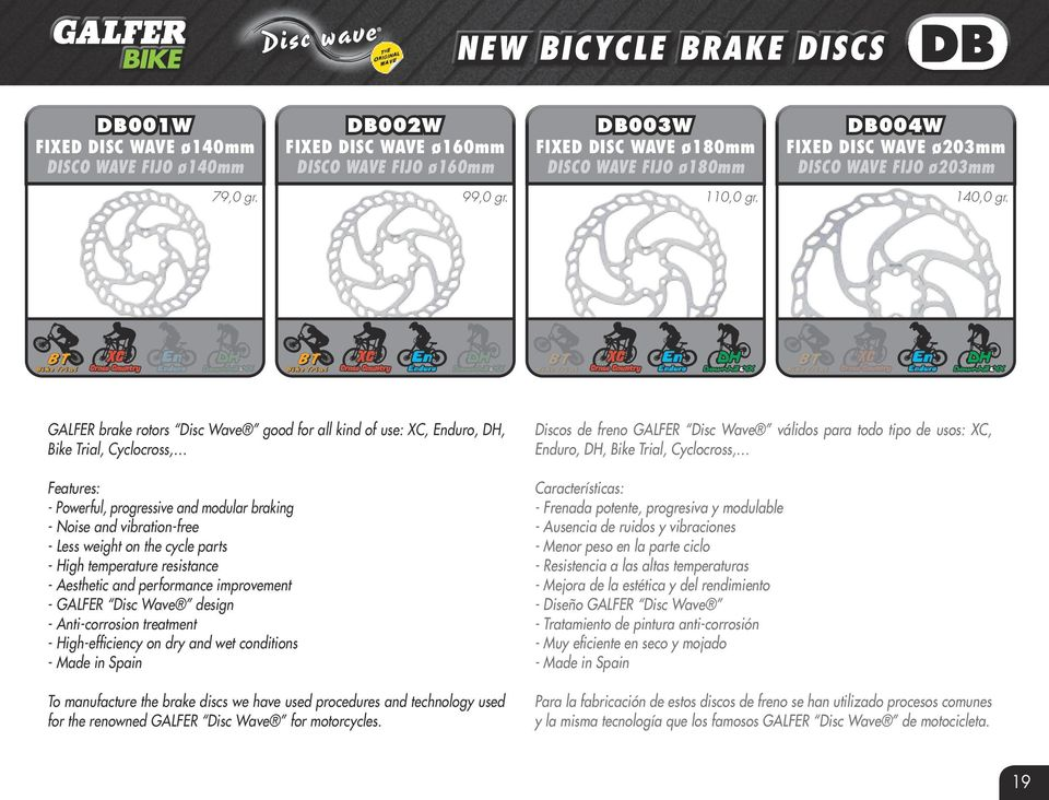 GLFER brake rotors Disc Wave good for all kind of use: XC, Enduro, DH, Bike Trial, Cyclocross, Features: - Powerful, progressive and modular braking - Noise and vibration-free - Less weight on the