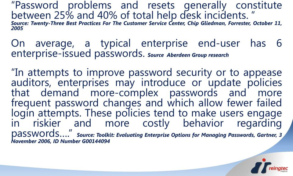 Source Aberdeen Group research In attempts to improve password security or to appease auditors, enterprises may introduce or update policies that demand more-complex passwords and more