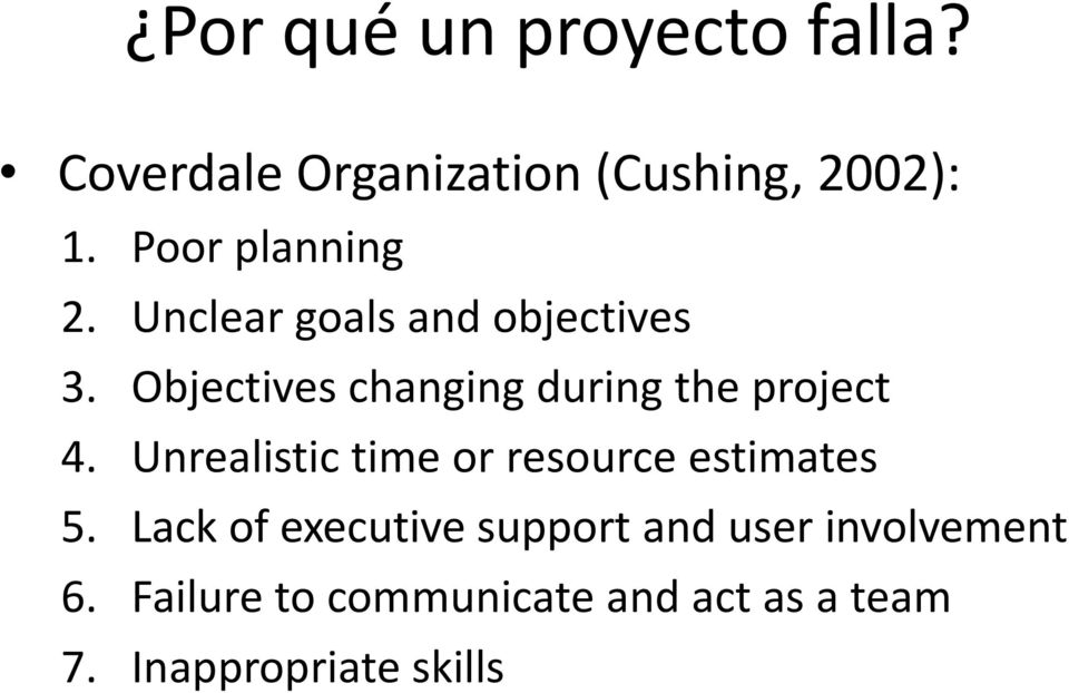 Objectives changing during the project 4.