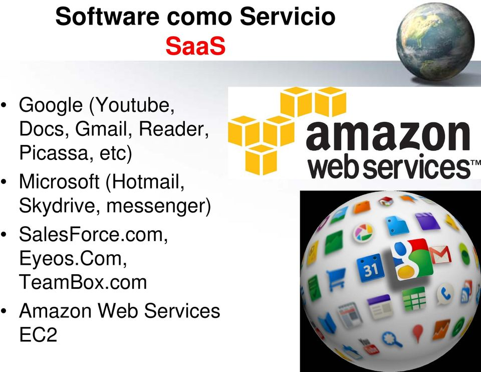 (Hotmail, Skydrive, messenger) SalesForce.
