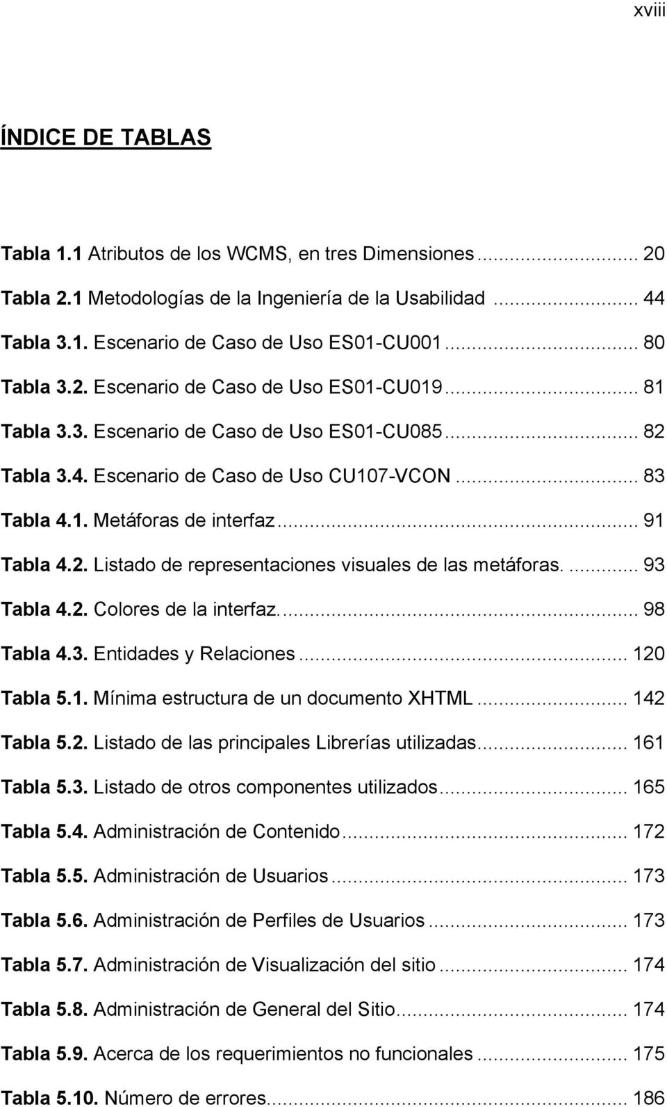 .. 91 Tabla 4.2. Listado de representaciones visuales de las metáforas.... 93 Tabla 4.2. Colores de la interfaz.... 98 Tabla 4.3. Entidades y Relaciones... 120 Tabla 5.1. Mínima estructura de un documento XHTML.