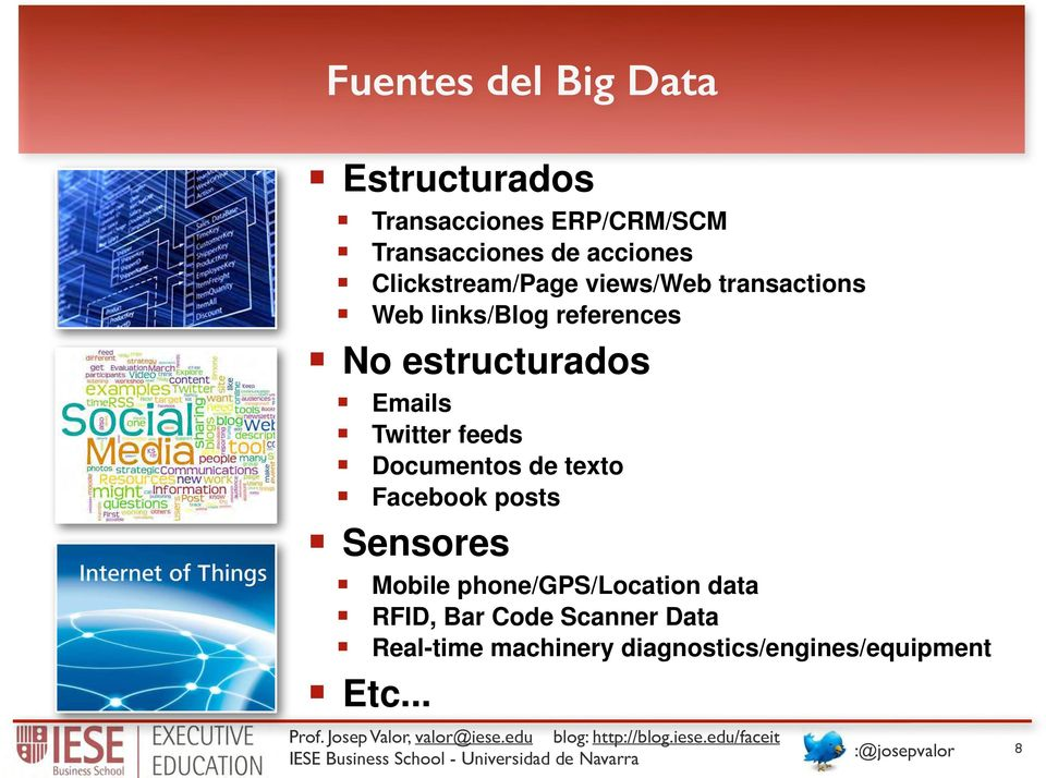 Documentos de texto! Facebook posts! Sensores! Mobile phone/gps/location data! RFID, Bar Code Scanner Data!