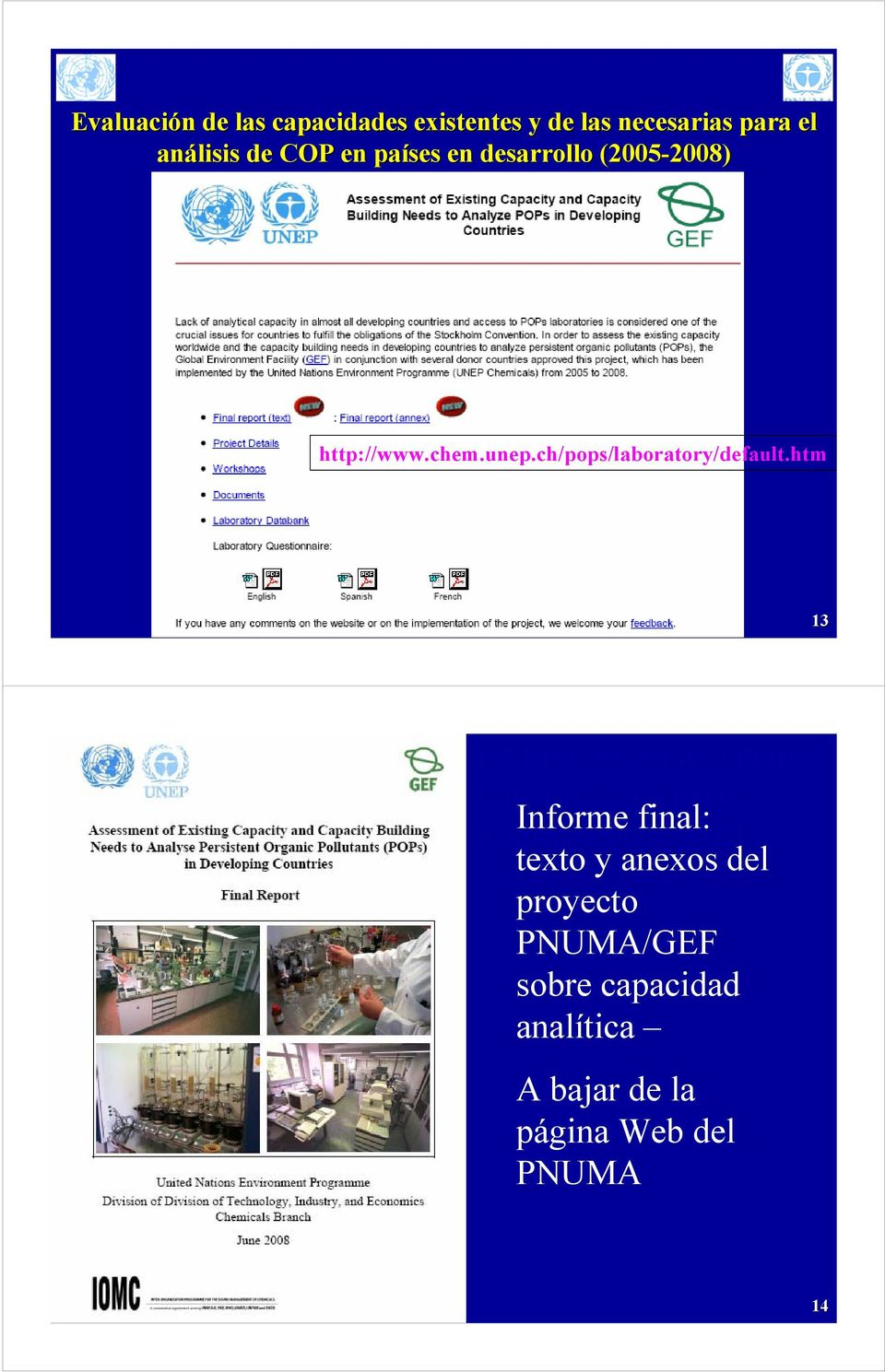 htm 13 UNEP/GEF Global POPs Laboratory Capacity project: Informe Final final: report texto