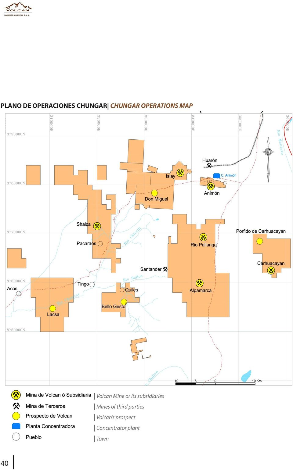 CHUNGAR CHUNGAR OPERATIONS MAP 40 Volcan