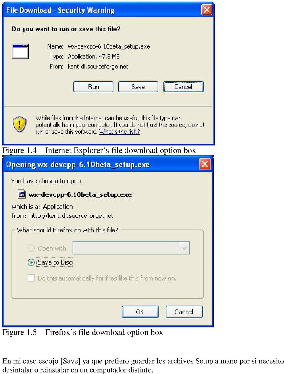 file download option box En mi caso escojo [Save] ya que