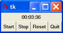 "Ejemplo Tkinter II def Start(self): """""" Start the stopwatch, ignore if running. """""" if not self._running: self._start = time.time() - self._elapsedtime self._update() self."