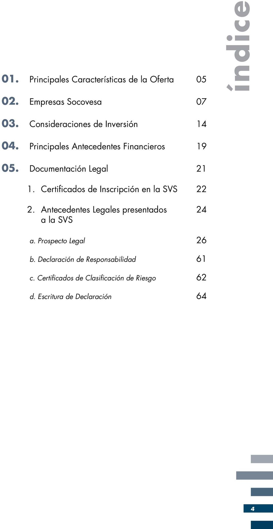 Documentación Legal 21 1. Certificados de Inscripción en la SVS 22 2.