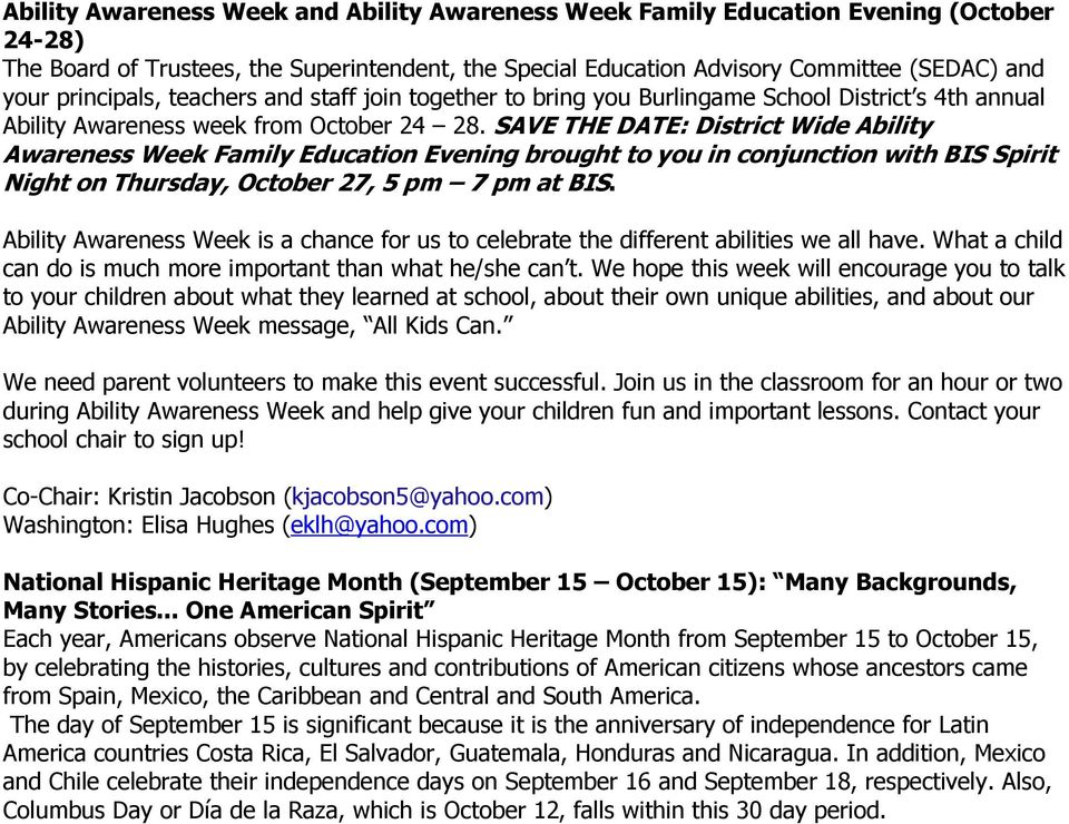 SAVE THE DATE: District Wide Ability Awareness Week Family Education Evening brought to you in conjunction with BIS Spirit Night on Thursday, October 27, 5 pm 7 pm at BIS.