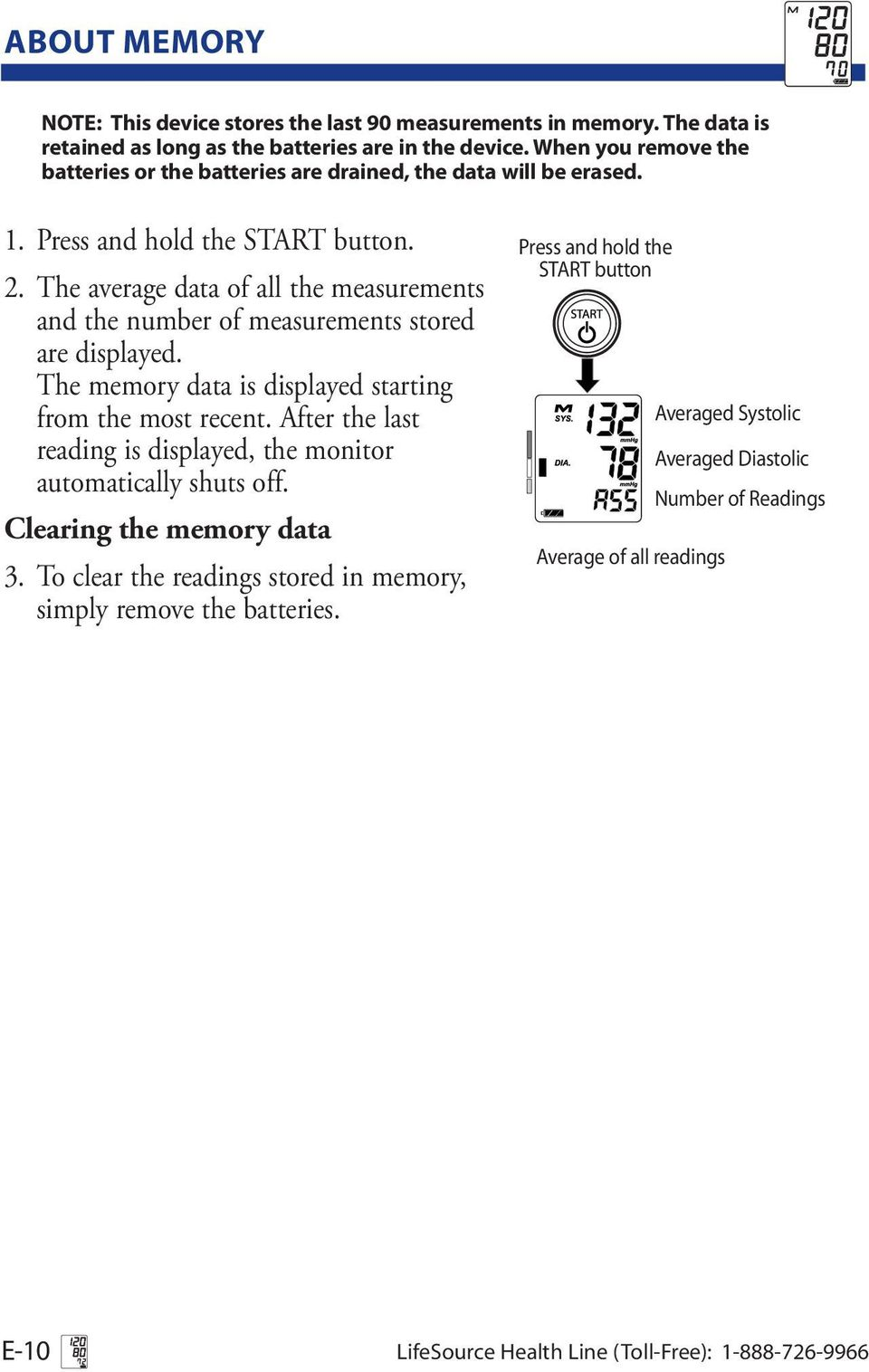 The average data of all the measurements and the number of measurements stored are displayed. The memory data is displayed starting from the most recent.