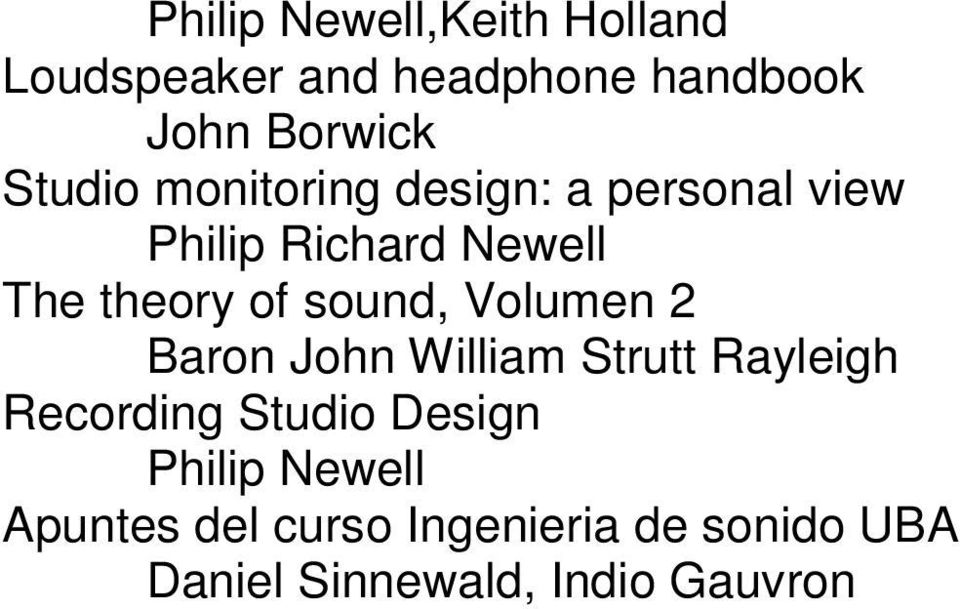 sound, Volumen 2 Baron John William Strutt Rayleigh Recording Studio Design