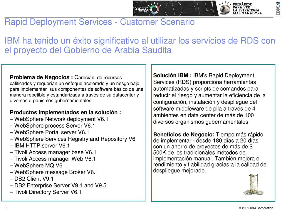 organismos gubernamentales Productos implementados en la solución : WebSphere Network deployment V6.1 WebSphere process Server V6.1 WebSphere Portal server V6.