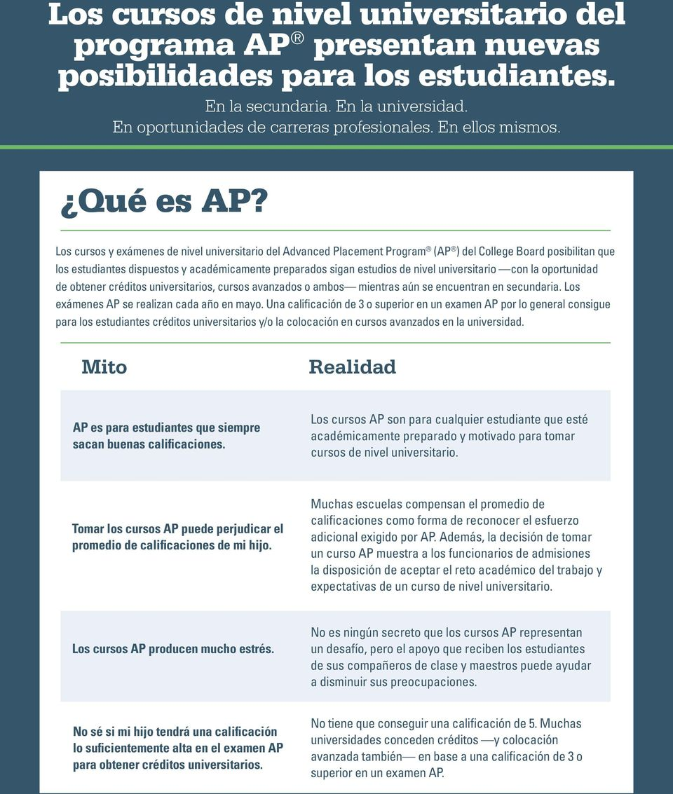 Los cursos y exámenes de nivel universitario del Advanced Placement Program (AP ) del College Board posibilitan que los estudiantes dispuestos y académicamente preparados sigan estudios de nivel