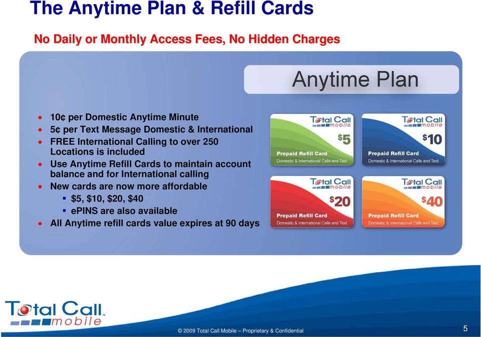 included Use Anytime Refill Cards to maintain account balance and for International calling New cards are