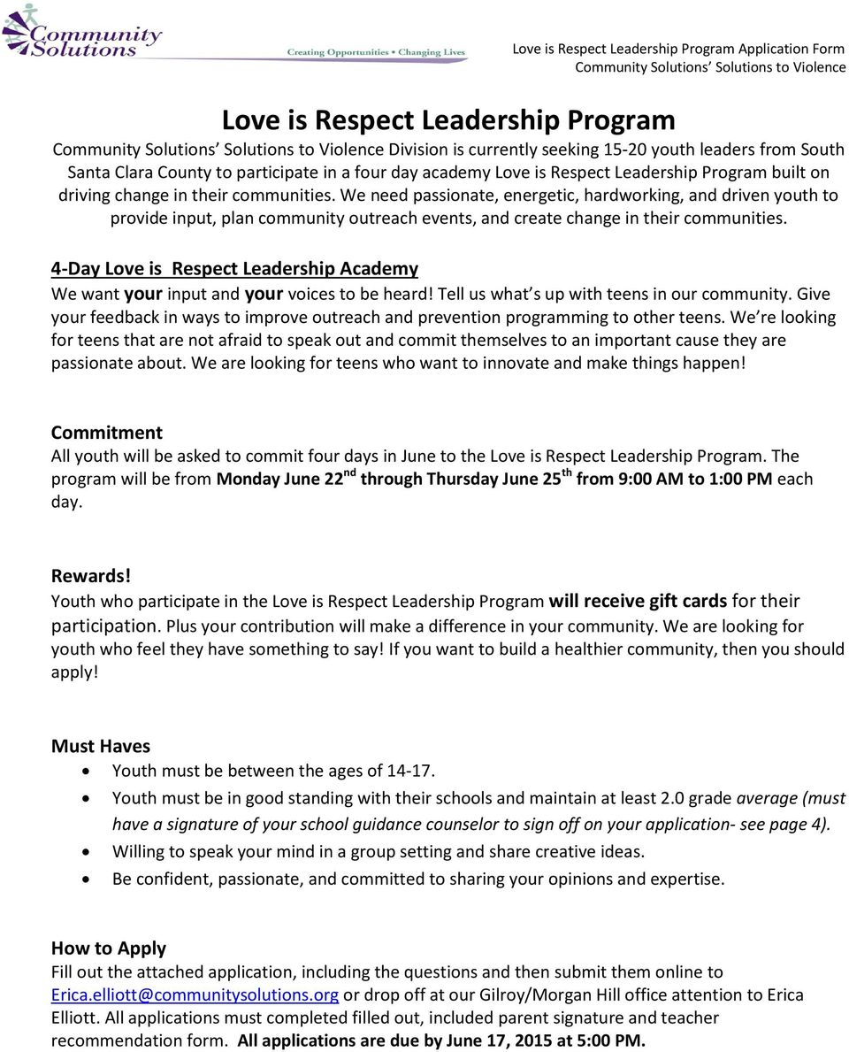 4-Day Love is Respect Leadership Academy We want your input and your voices to be heard! Tell us what s up with teens in our community.
