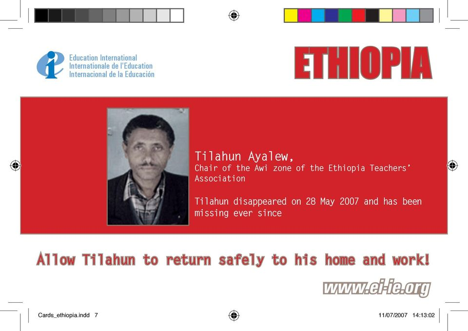 May 2007 and has been missing ever since Allow Tilahun to return
