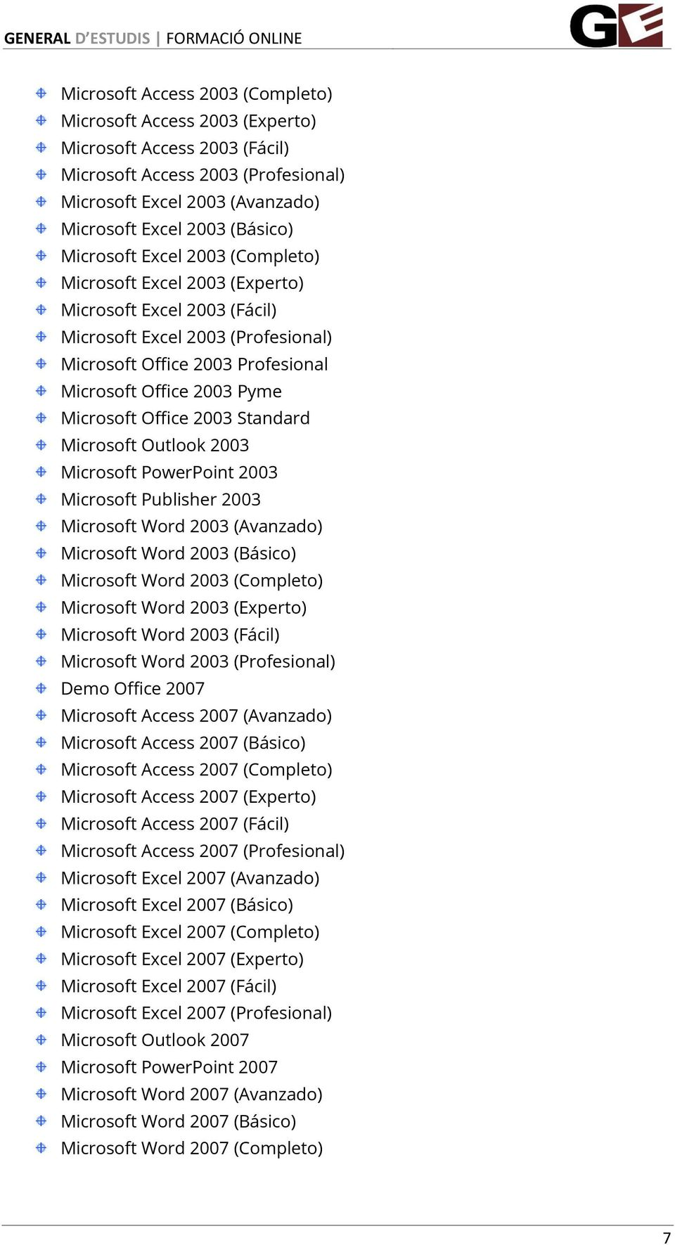 Office 2003 Standard Microsoft Outlook 2003 Microsoft PowerPoint 2003 Microsoft Publisher 2003 Microsoft Word 2003 (Avanzado) Microsoft Word 2003 (Básico) Microsoft Word 2003 (Completo) Microsoft