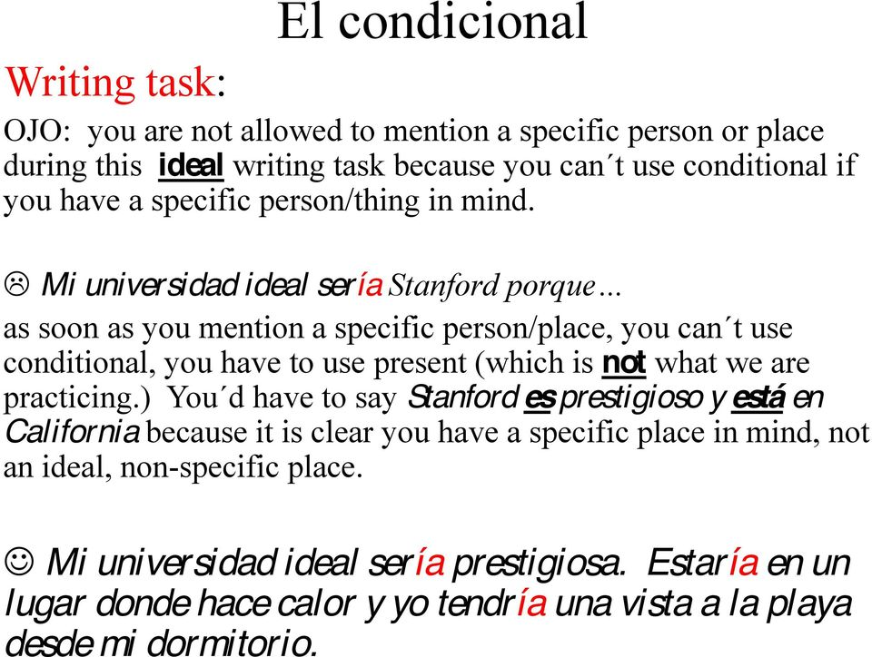 Mi universidad ideal sería as soon as you mention a specific person/place, you can t use conditional, you have to use present (which is not what we are practicing.