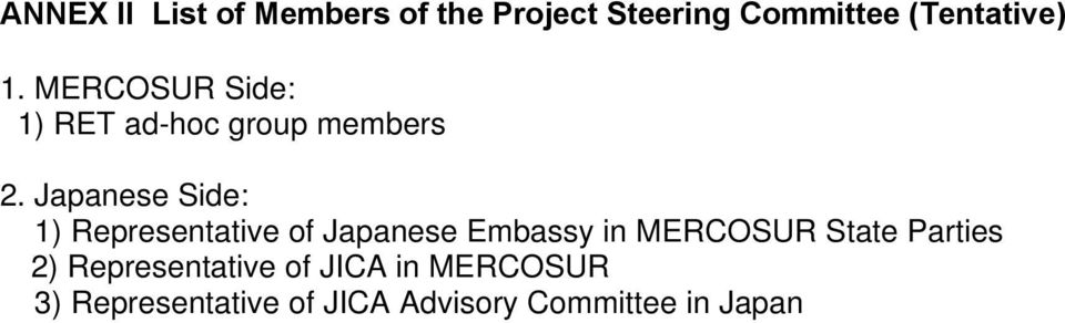 Japanese Side: 1) Representative of Japanese Embassy in MERCOSUR State