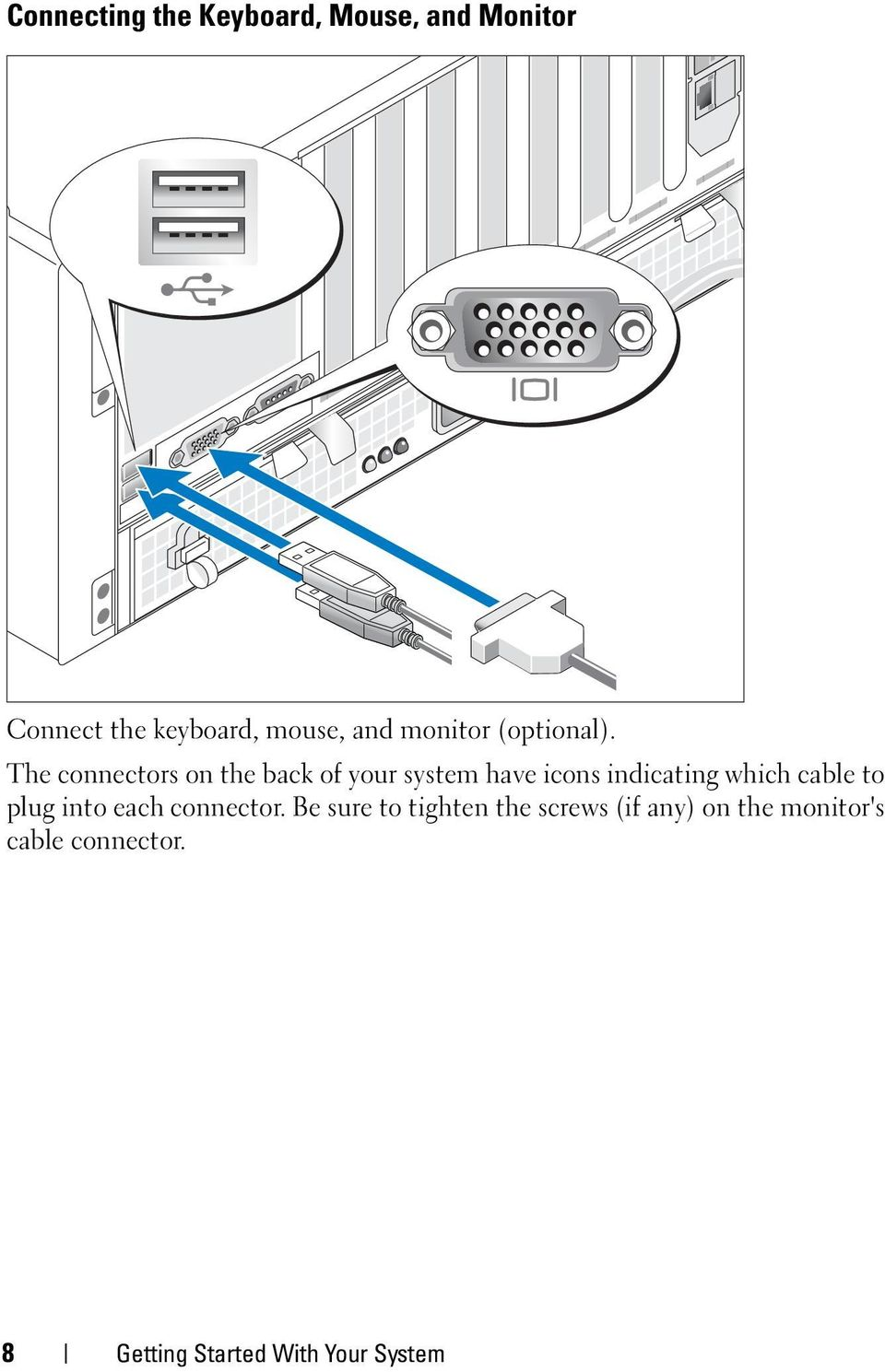 The connectors on the back of your system have icons indicating which cable