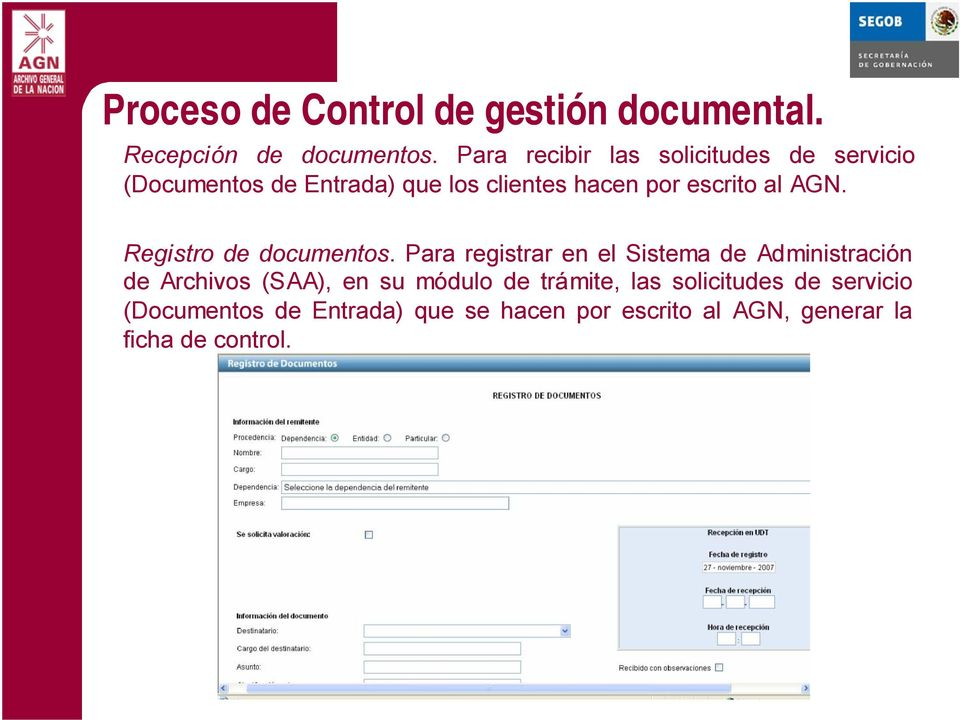 al AGN. Registro de documentos.