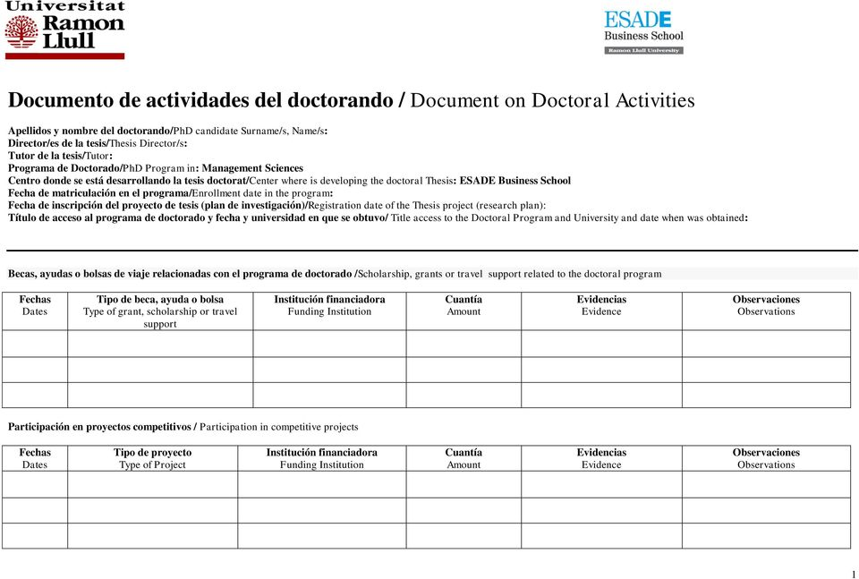 de matriculación en el programa/enrollment date in the program: Fecha de inscripción del proyecto de tesis (plan de investigación)/registration date of the Thesis project (research plan): Título de