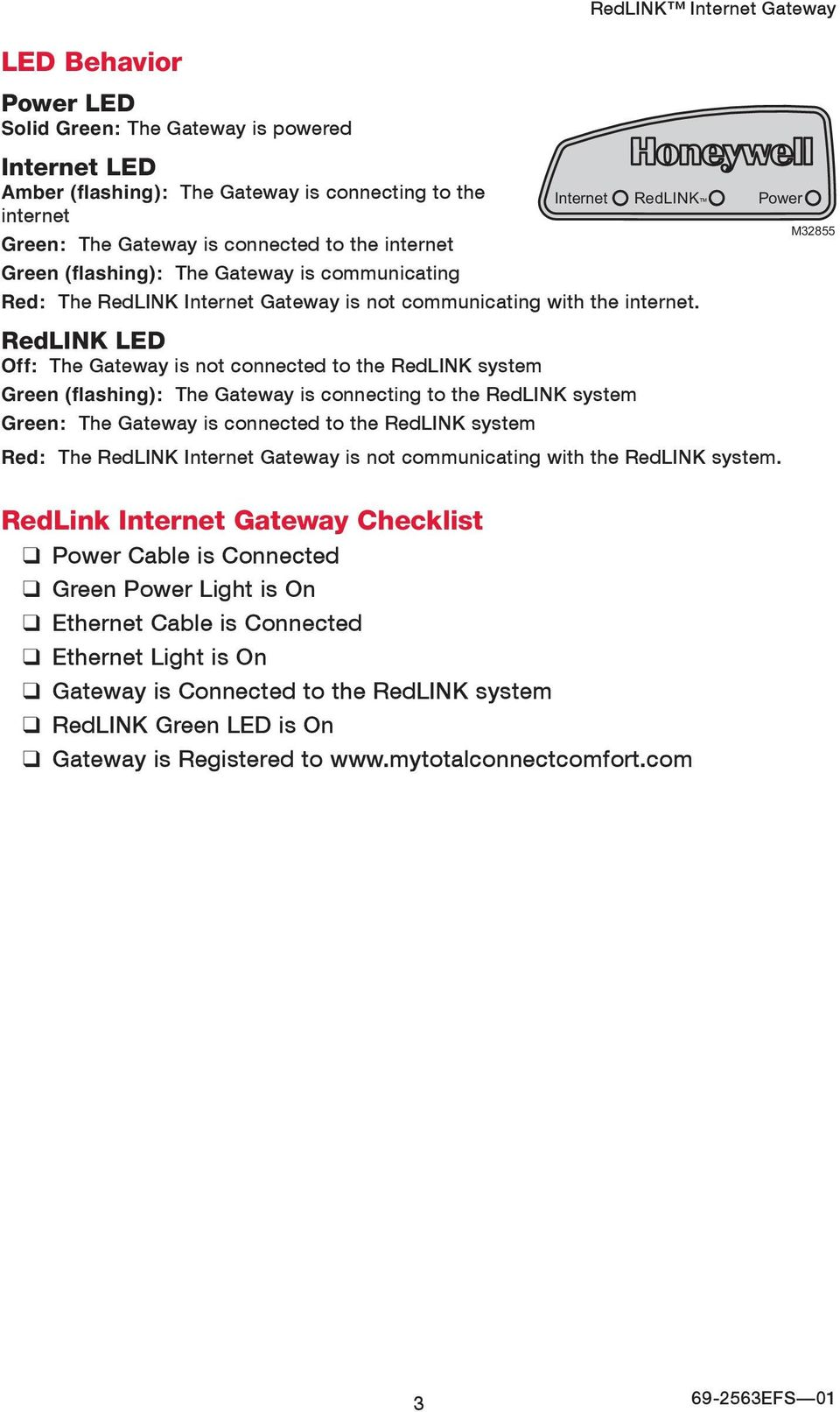 RedLINK LED Off: The Gateway is not connected to the RedLINK system Green (flashing): The Gateway is connecting to the RedLINK system Green: The Gateway is connected to the RedLINK system Red: The