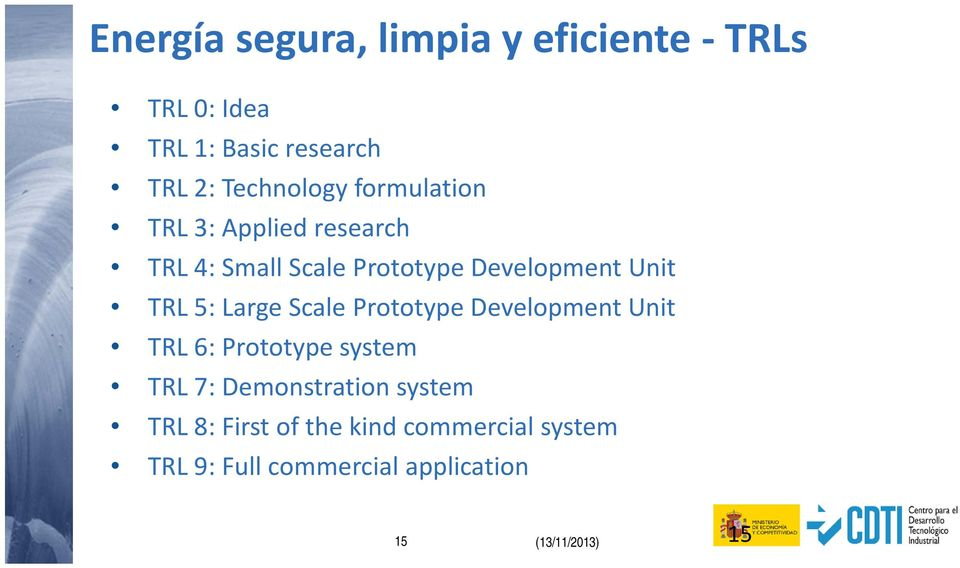 Scale Prototype Development Unit TRL 6: Prototype system TRL 7: Demonstration system TRL 8: First