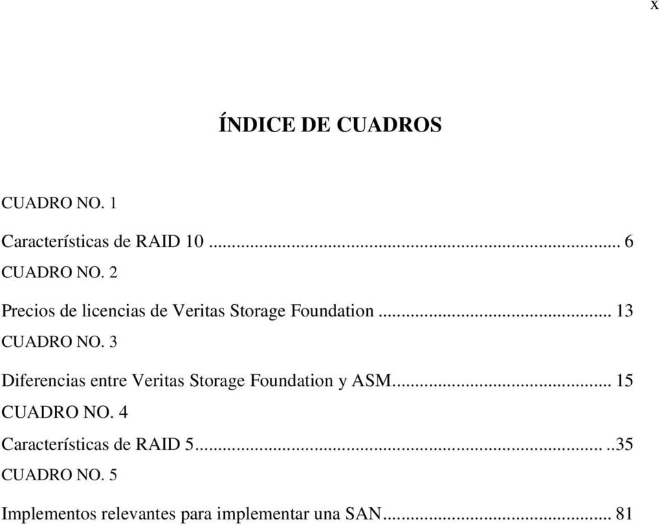 3 Diferencias entre Veritas Storage Foundation y ASM... 15 CUADRO NO.