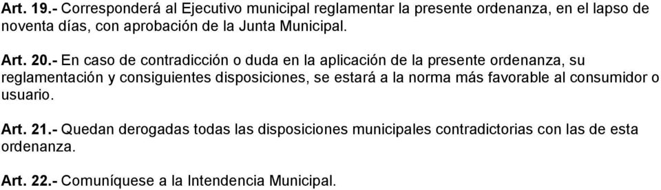 Junta Municipal. Art. 20.