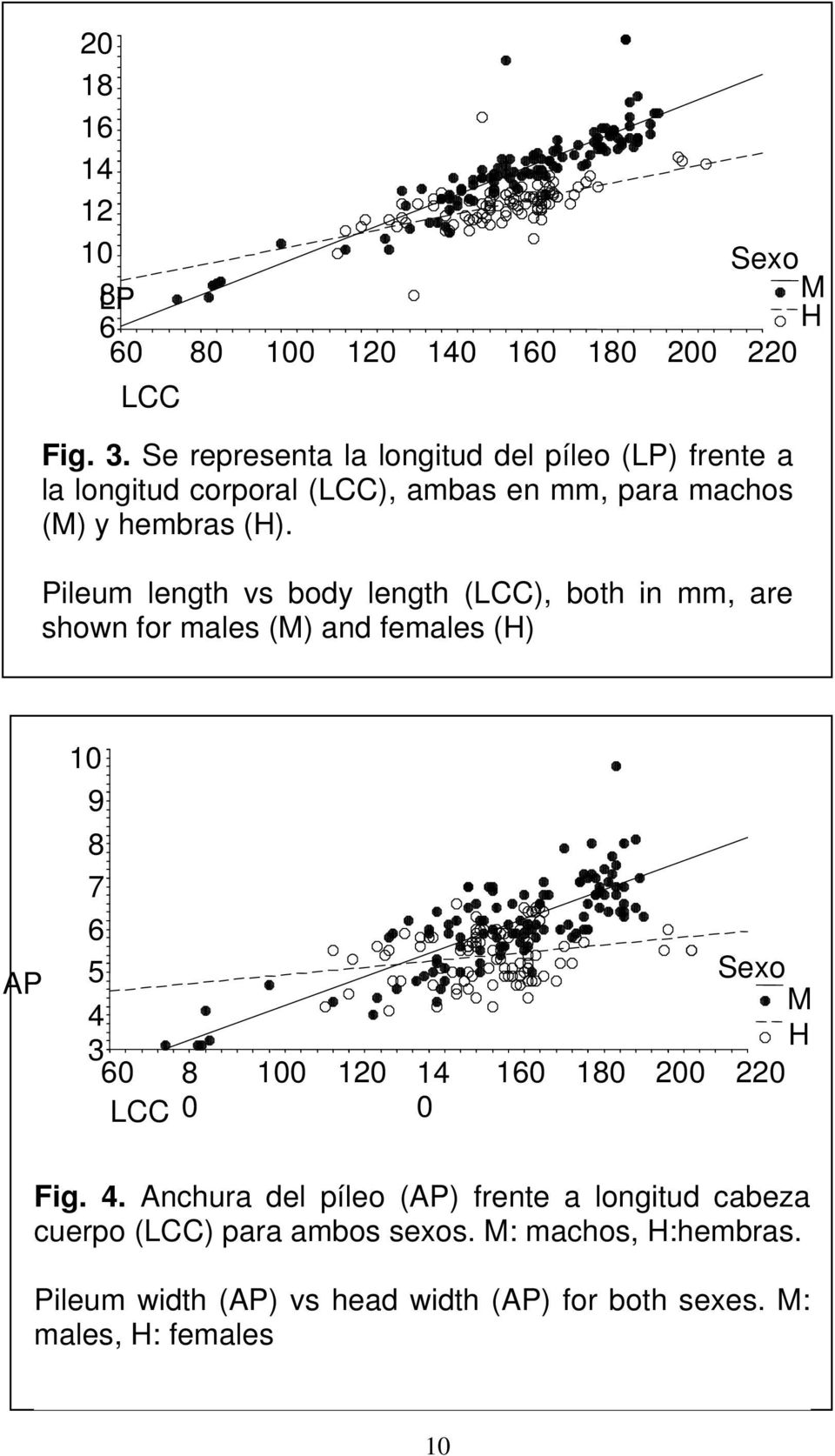 Pileum length vs body length (LCC), both in mm, are shown for males (M) and females (H) AP 9 8 7 6 5 4 3 60 LCC 8 0 0 120 14 0 160