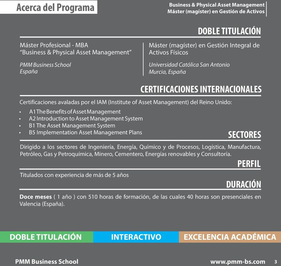 Management A2 Introduction to Asset Management System B1 The Asset Management System B5 Implementation Asset Management Plans SECTORES Dirigido a los sectores de Ingeniería, Energía, Químico y de