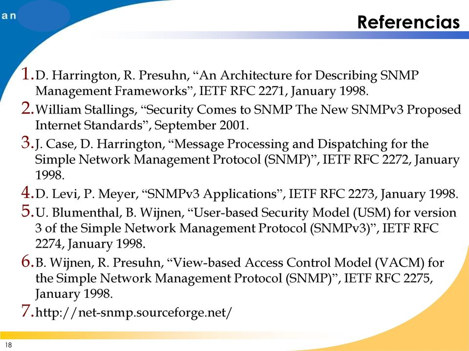 Harrington, Message Processing and Dispatching for the Simple Network Management Protocol (SNMP), IETF RFC 2272, January 1998. 4.D. Levi, P.