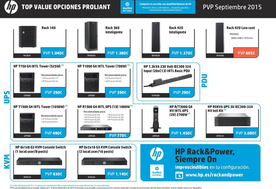 370 AF046A PVP 605 HP T750 G4 INTL Tower (525W) (1) Recomendada para: HP ProLiant ML110 HP ProLiant ML150 HP T1000 G4 INTL Tower (700W) (1) Recomendada para: HP ProLiant ML310 HP ProLiant ML330 HP 7.