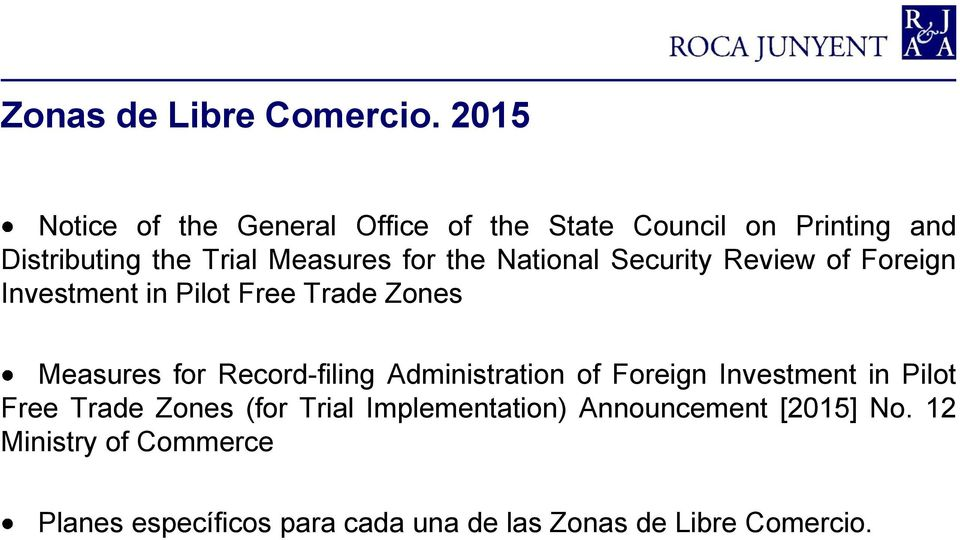 the National Security Review of Foreign Investment in Pilot Free Trade Zones Measures for Record-filing