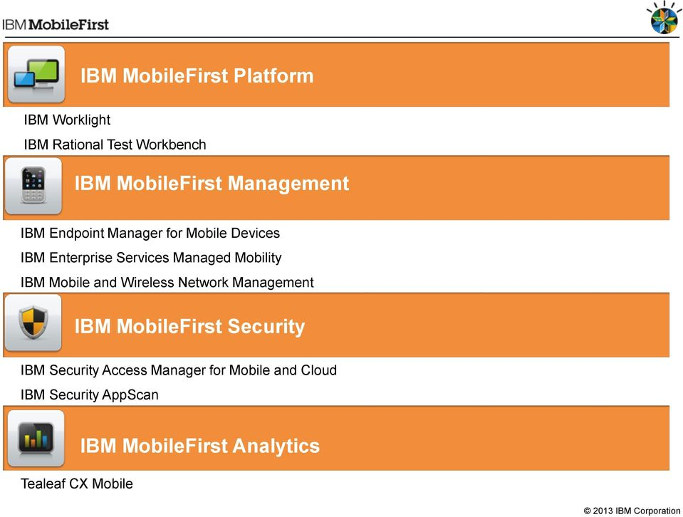 Mobility IBM Mobile and Wireless Network Management IBM MobileFirst Security IBM