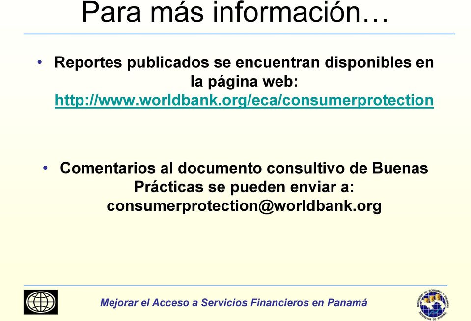 org/eca/consumerprotection Comentarios al documento