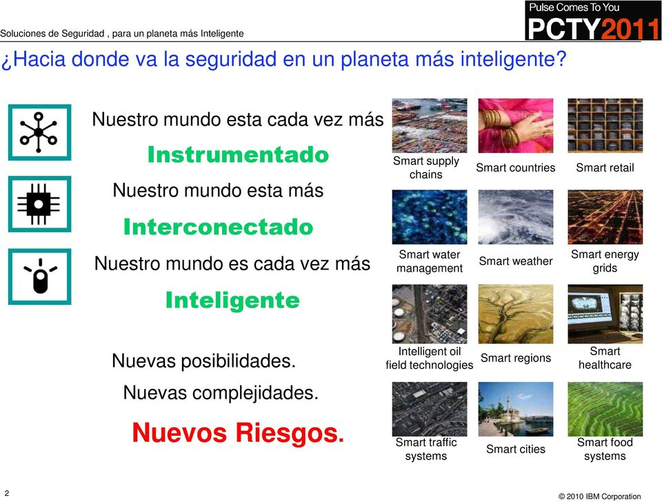 Interconectado Nuestro mundo es cada vez más Smart water management Smart weather Smart energy grids Inteligente