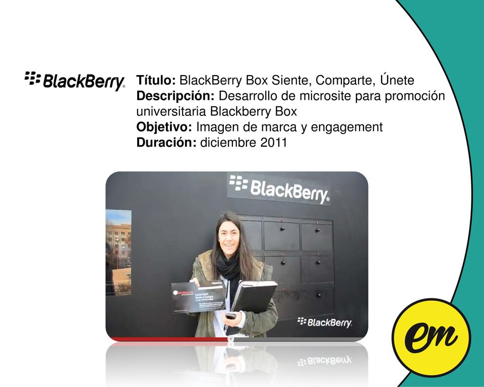 promoción universitaria Blackberry Box