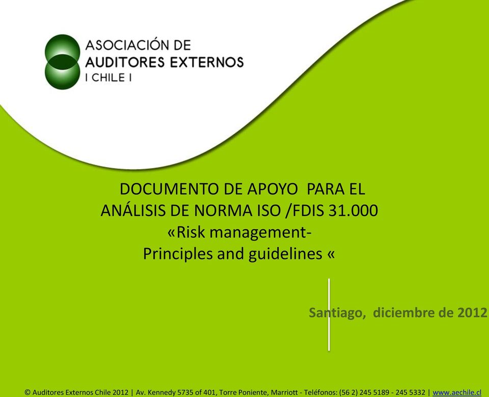 000 «Risk management- Principles and guidelines «DOCUMENTOS