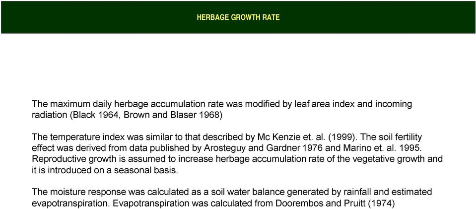 The soil fertility effect was derived from data published by Arosteguy and Gardner 1976 and Marino et. al. 1995.