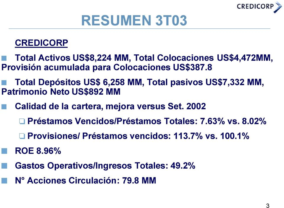 8 Total Depósitos US$ 6,258 MM, Total pasivos US$7,332 MM, Patrimonio Neto US$892 MM Calidad de la cartera,