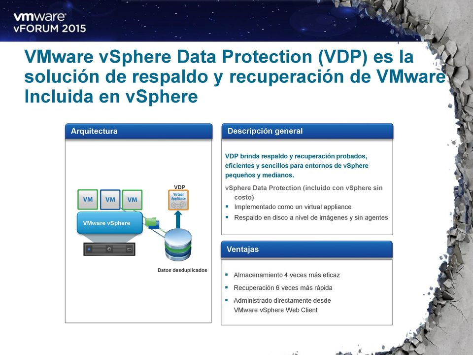 vsphere Data Protection (incluido con vsphere sin costo) Implementado como un virtual appliance Respaldo en disco a nivel de imágenes y sin