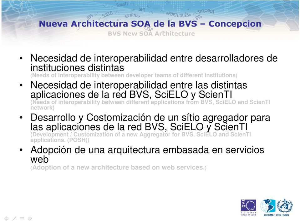 different applications from BVS, SciELO and ScienTI network) Desarrollo y Costomización de un sítio agregador para las aplicaciones de la red BVS, SciELO y ScienTI (Development /