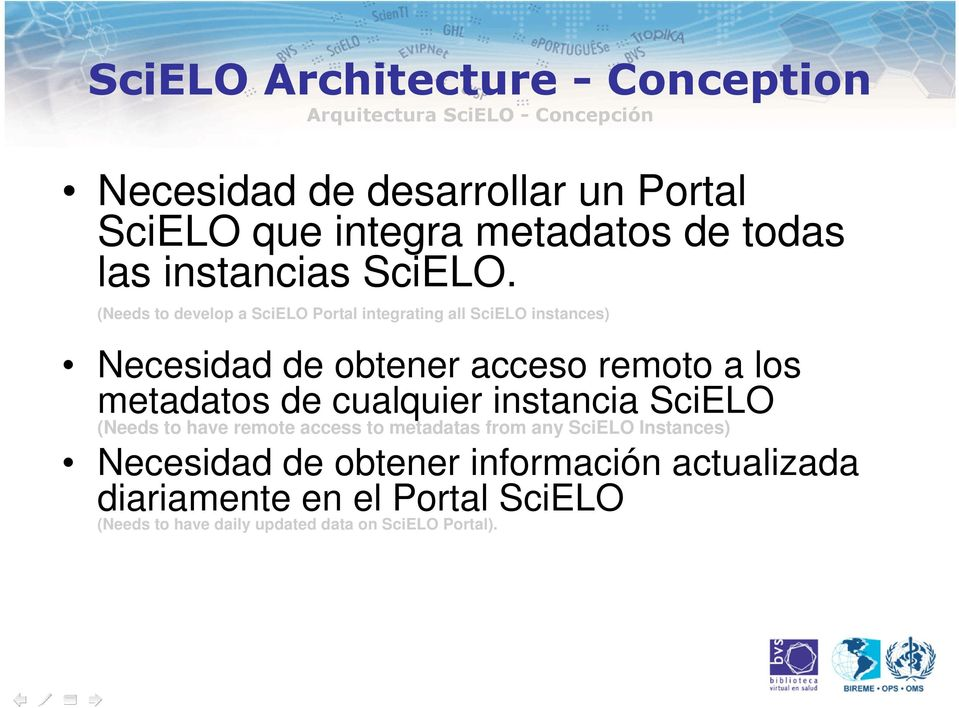 (Needs to develop a SciELO Portal integrating all SciELO instances) Necesidad de obtener acceso remoto a los metadatos de