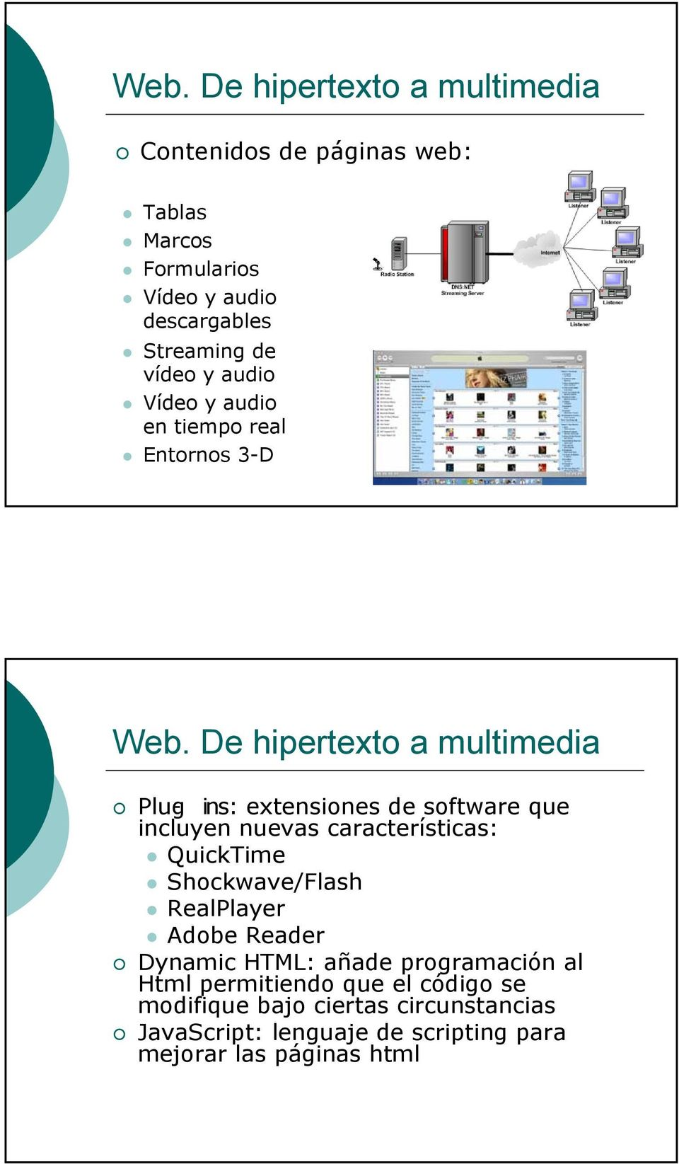 De hipertexto a multimedia Plug- ins: extensiones de software que incluyen nuevas características: QuickTime Shockwave/Flash