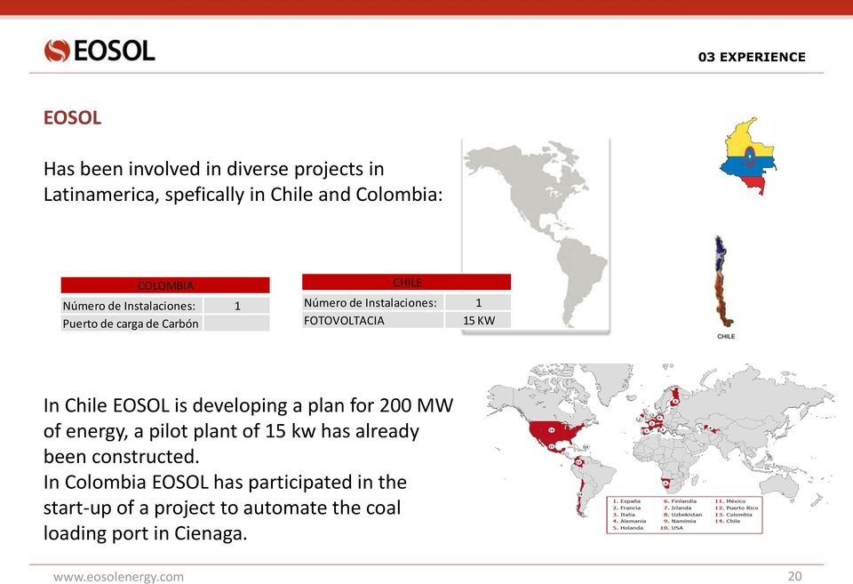Chile EOSOL is developing a plan for 200 MW of energy, a pilot plant of 15 kw has already been constructed.
